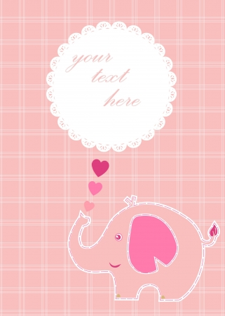baby elephant: Cute girl baby elephant announcement card