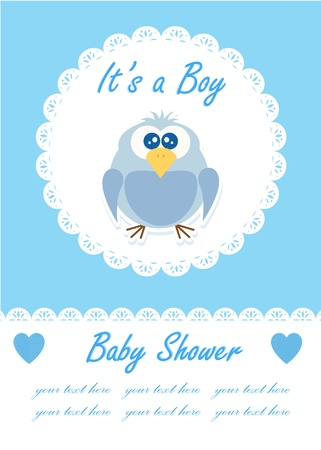 It s a boy baby with cute owl  Baby shower design  vector illustration Vector