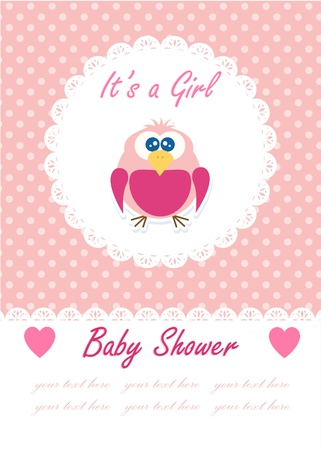 it s a girl: It s a girl baby with cute owl  Baby shower design  vector illustration