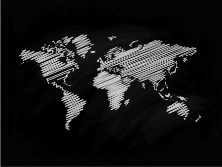 Drawing of map on blackboard Illustration