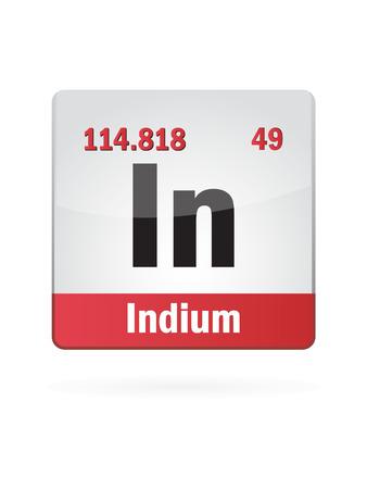 neutrons: Indium Symbol Illustration Icon