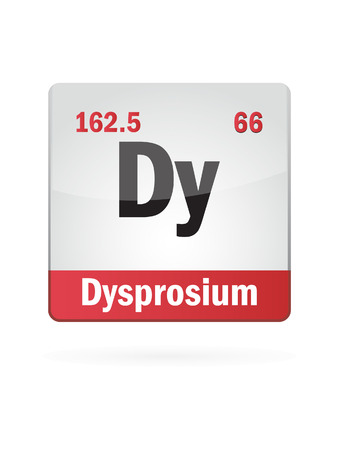 neutrons: Dysprosium Symbol Illustration Icon On White Background Illustration