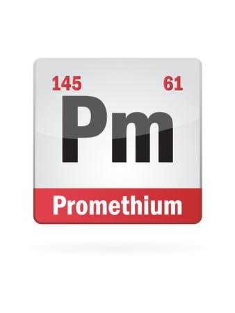 neutrons: Promethium Symbol Illustration Icon On White Background