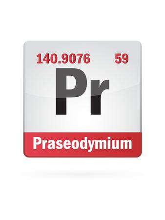 Praseodymium Symbol Illustration Icon On White Background