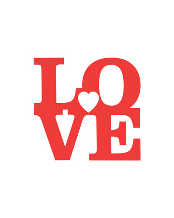 LOVE Šťastný Valentines day card, typ písma