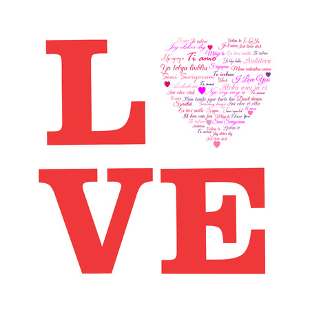love words: Love  A Heart Made of Words   I Love You   in Many Languages