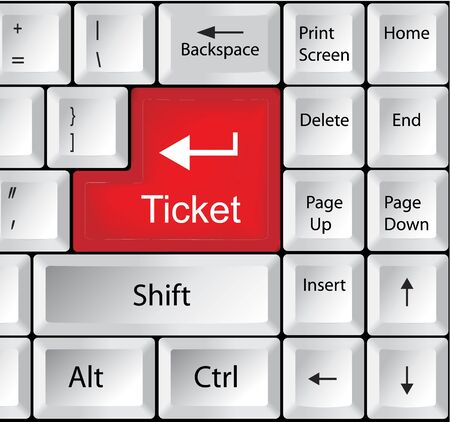 internet buttons: Computer Keyboard with Ticket - Business Concept Illustration