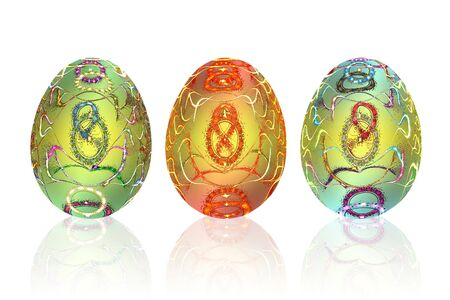 set of light-colored  Easter eggs