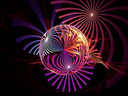Fractal crystal ball on black background