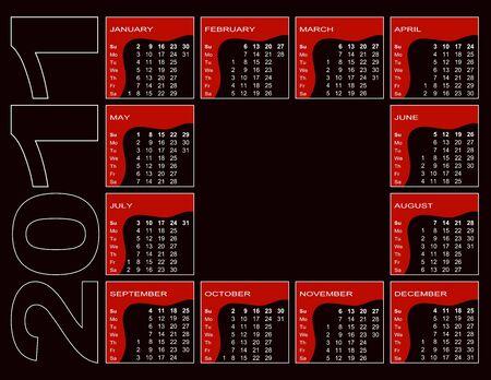 Calendar 2011 - red, black, white (English, Sunday first)