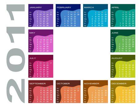 Colorful calendar 2011 (English, Sunday first) Illustration