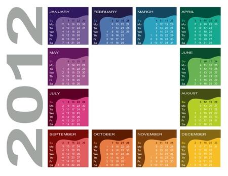 Colorful calendar 2012  Illustration