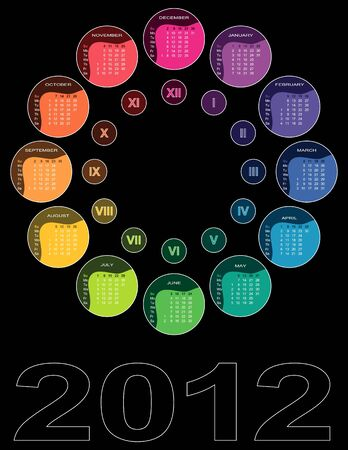Colorful circular calendar 2012 on black background (English, Sundy first) Vector