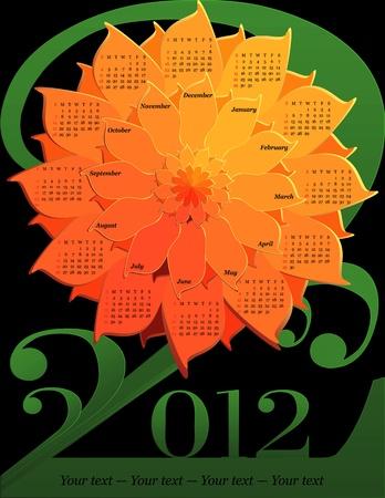 Calendar 2012 - Flower (English, Sunday first)