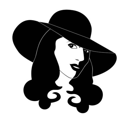 Young woman with floppy had (vector)