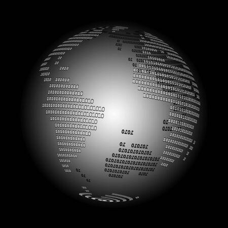0 geography: Digital world (B&W)