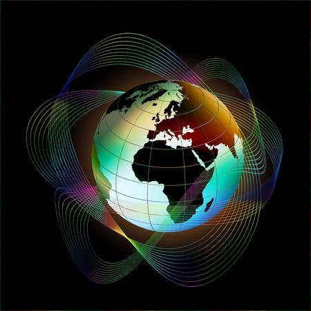 Globe on black background
