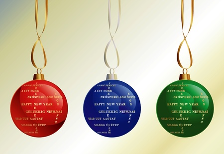 Set of Christmas Balls with Happy New Year in different languages Vector