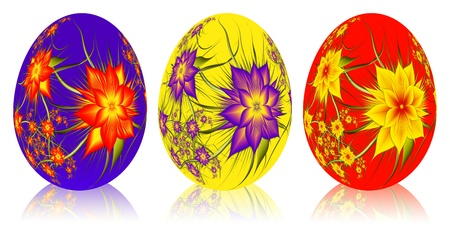 Set of Easter eggs with floral elements  photo