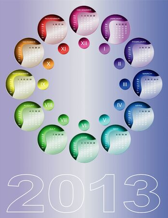 Colorful circular calendar 2013  English, Sunday first  Vector