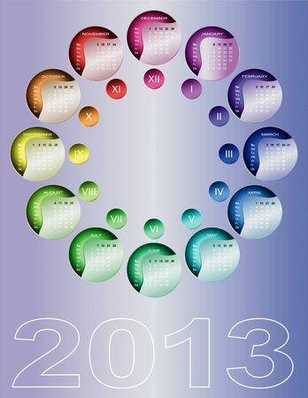 Colorful circular calendar 2013  English, Sunday first Stock Vector - 15162552