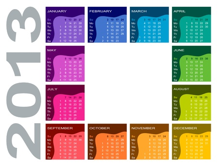Colorful calendar 2013 - English  Sunday first  Vector