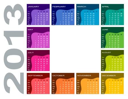 Colorful calendar 2013 - English  Sunday first Stock Vector - 15162551