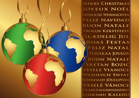 Christmas wishes in different languages and balls with globe Vector