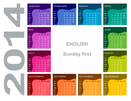Colorful calendar 2014 - English Sunday first  Vector