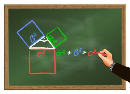 teorema: El profesor explica el teorema de Pit�goras en una pizarra Foto de archivo