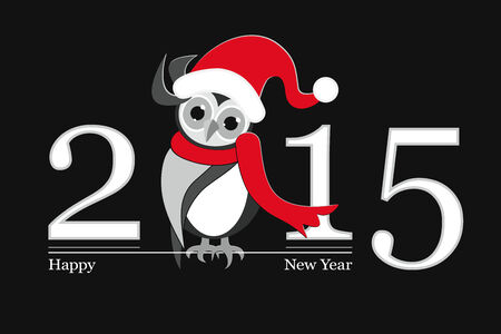 Happy New Year 2015 with funny owl Illustration