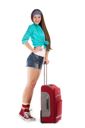 girl roll her suitcase