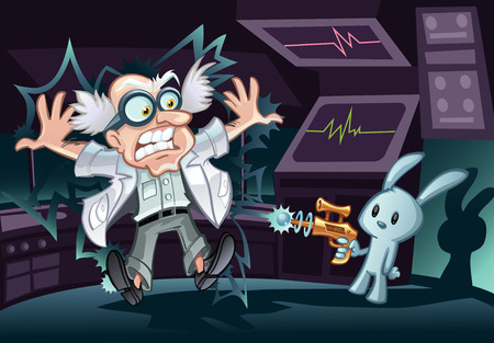 Mad Scientist en Bunny Stock Illustratie