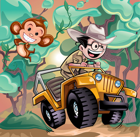 Safari Jeep Explorer and Monkey Vector