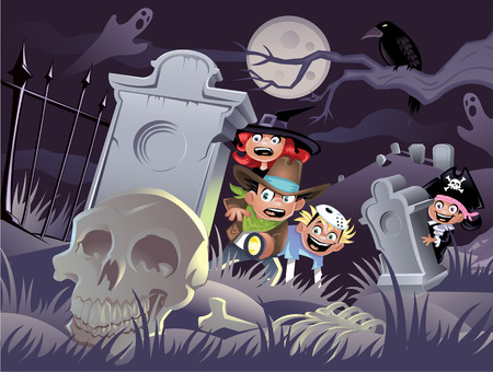 the animated cartoon: Kids in a Graveyard  Illustration