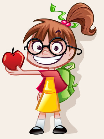 child learning: Nerd Girl - Teachers Pet Illustration