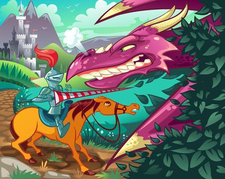 Middeleeuwse Dragon vs Knight