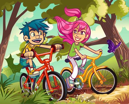 niños en bicicleta: Adolescentes en un paseo en bicicleta