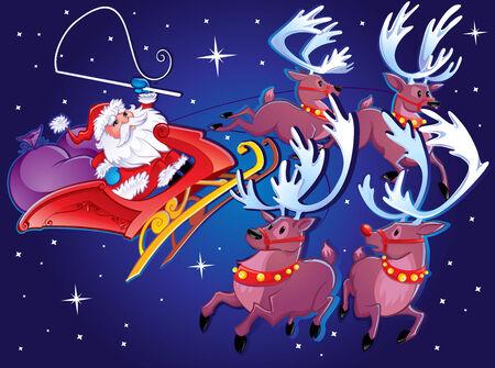 Santa s Sleigh and reindeer  向量圖像