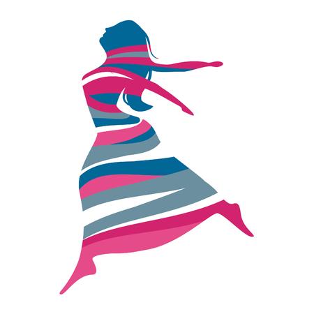 Striped Woman Icon on white background Illustration