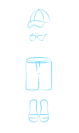beachwear: Mens beachwear. Linear illustration.