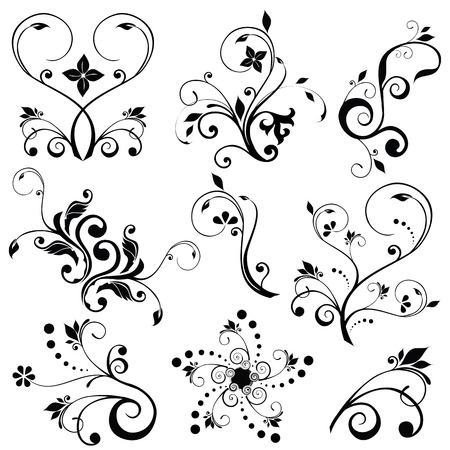 flourish: Samples of floral vectors