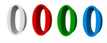 3D digits_0; four colors available: white, red, green, blue