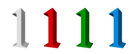 3D digits_1; four colors available: white, red, green, blue Stock Photo