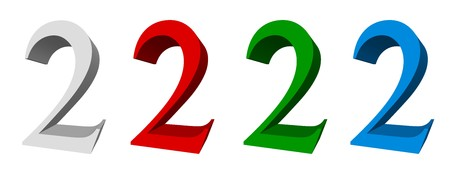 3D digits_2; four colors available: white, red, green, blue photo