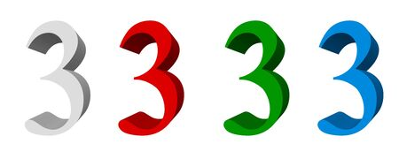 3D digits_3; four colors available: white, red, green, blue