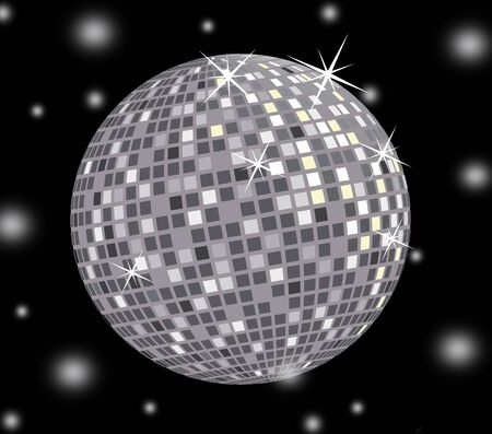 silvery: 3D disco ball on black background Stock Photo