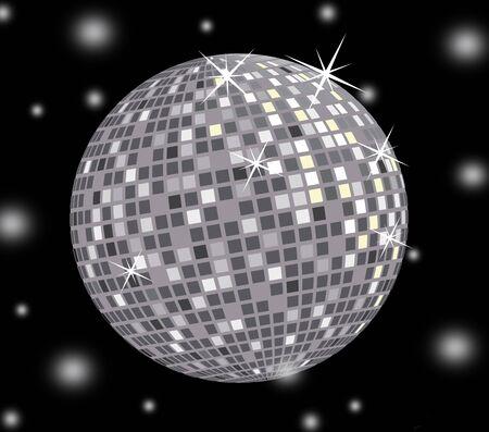 3D disco ball on black background Stock Photo