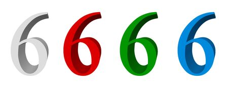 singular: 3D sign_6 available in four colors: white, red, green, blue Stock Photo