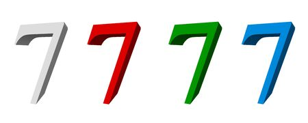singular: 3D digit_7 (four colors: white, red, green, blue) Stock Photo